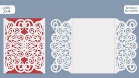 Calibre de carte d'invitation de mariage de coupe de laser Coupez la carte de papier avec le modèle de dentelle Calibre de carte  illustration de vecteur