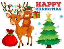 Calibre de carte de Noël avec l'ours et le renne illustration de vecteur