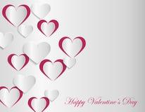 Calibre de carte de Valentine avec les coeurs de papier coupés Photos libres de droits