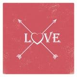 Calibre de carte de valentine de vintage avec le rouge usé illustration de vecteur