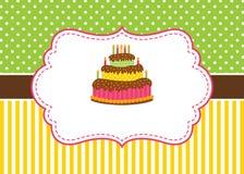 Calibre de carte de vecteur avec un gâteau et bougies sur des rayures et la polka Dot Background Image libre de droits