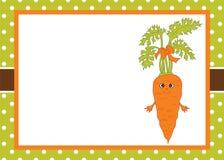 Calibre de carte de vecteur avec une carotte de bande dessinée sur la polka Dot Background Images stock