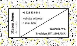 Calibre de carte de visite professionnelle de visite dans le style de Memphis Images stock