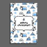 Calibre de carte de voeux de Joyeux Noël avec le renne mignon de bande dessinée Image libre de droits