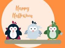 Calibre de carte de Halloween avec les caractères stylisés de pingouin Illustration plate moderne illustration de vecteur