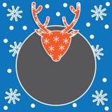 Calibre de carte de Noël avec des cerfs communs et des flocons de neige Image stock