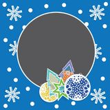 Calibre de carte de Noël avec des jouets, des flocons de neige et des sapins Photographie stock