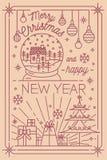Calibre de carte postale de Joyeux Noël et de bonne année avec des décorations d'hiver de vacances dessinées dans style de schéma Photos libres de droits