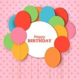 Calibre de carte de voeux de joyeux anniversaire avec le cadre rond blanc Ballons de coupe de papier de vol sur le fond rose Vect illustration de vecteur