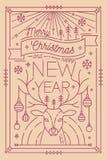 Calibre de carte de voeux de Joyeux Noël et de bonne année avec les décorations de fête - andouillers de cerfs communs décorés de Images libres de droits