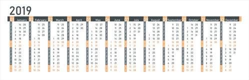 Calibre 2019 de cellules de grille de calendrier Calendrier 2019 dans le style simple La semaine commence lundi illustration libre de droits
