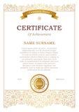 Calibre de certificat avec le ruban d'or Photo stock