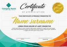 Calibre de certificat avec le style polygonal et l'illustration moderne de vecteur de modèle illustration libre de droits