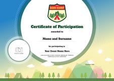 Calibre de certificat d'enfants dans le vecteur pour la participation campante Photos stock