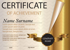 Calibre de certificat ou de diplôme gagnant de récompense Gain du compe Photos stock