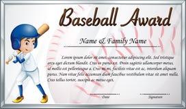 Calibre de certificat pour la récompense de base-ball avec le CCB de joueur de baseball Photos stock