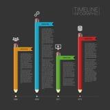 Calibre de chronologie d'Infographic d'affaires avec des bannières et des icônes Photo libre de droits