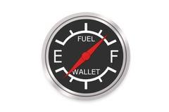 Calibre de combustível - conceito vazio da carteira Fotos de Stock