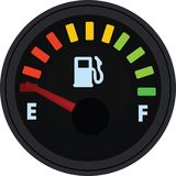 Calibre de combustível que mostra o tanque completo Tanque vazio ilustração royalty free