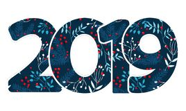 Calibre de conception avec la calligraphie pendant 2019 bonnes années Lettrage tiré par la main du numéro 2019 noirs sur le fond  illustration libre de droits