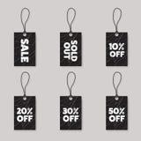 Calibre de conception d'étiquettes de prix discount d'achats de promotion noir Photos stock