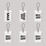 Calibre de conception d'étiquettes de prix discount d'achats de promotion noir Photo libre de droits