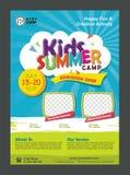 Calibre de conception d'affiche de bannière de colonie de vacances d'enfants pour des enfants illustration de vecteur
