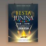 Calibre de conception d'affiche de célébration de junina de Festa avec des feux d'artifice illustration de vecteur