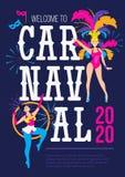 Calibre de conception d'affiche de Carnaval Carte de voeux ou invitation colorée de festival du Brésil Concept de Carnaval avec illustration de vecteur