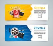 Calibre de conception d'affiche de bannière de film de cinéma Clapet de film, 3D verres, maïs éclaté Disposition de bannière de c Photographie stock