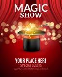 Calibre de conception d'affiche de spectacle de magie Conception d'insecte de spectacle de magie avec le chapeau et les rideaux m illustration de vecteur
