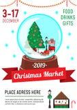 Calibre de conception d'affiche du marché de Noël avec le globe de neige et mignon illustration de vecteur