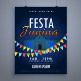 Calibre de conception d'affiche d'insecte de vacances de junina de Festa illustration stock