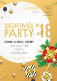 Calibre de conception d'affiche d'invitation de partie de Noël 2018 pour la célébration de nuit de décembre Dirigez le cadeau act Photo libre de droits