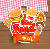 Calibre de conception d'aliments de préparation rapide Images stock