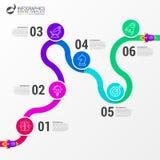 Calibre de conception d'Infographic Concept de chronologie avec 6 étapes Image libre de droits