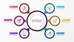 Calibre de conception d'Infographic Concept créatif avec 6 étapes Images stock