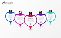 Calibre de conception d'Infographic Concept créatif avec 5 étapes Photos stock