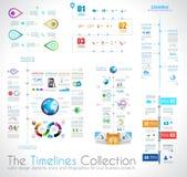Calibre de conception d'Infographic de chronologie avec les étiquettes de papier Photographie stock