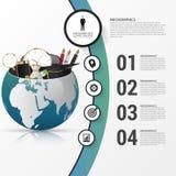 Calibre de conception d'Infographic Monde créateur Cercle coloré avec des icônes illustration stock