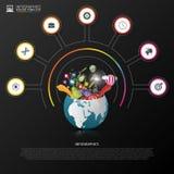 Calibre de conception d'Infographic Monde créateur Cercle coloré avec des icônes Vecteur illustration de vecteur