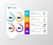 Calibre de conception d'Infographic Organigramme avec 4 étapes illustration libre de droits