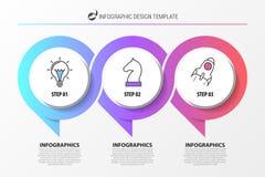 Calibre de conception d'Infographic Organigramme avec 3 étapes illustration stock