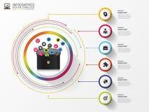 Calibre de conception d'Infographic Serviette avec des icônes Vecteur Images libres de droits