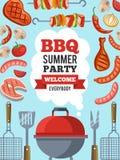 Calibre de conception d'invitation pour la partie de BBQ Dirigez l'illustration d'affiche avec l'endroit pour votre texte Image libre de droits