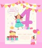 Calibre de conception d'invitation de vecteur pour la fête d'anniversaire avec le gâteau du BD, les guirlandes, la sucrerie, les  illustration stock