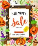 Calibre de conception d'offre de vente de Halloween Dirigez le fond avec le potiron, le fantôme, sucrerie dans le style plat Rétr illustration stock