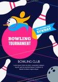 Calibre de conception de bannière, d'affiche ou d'insecte de tournoi de bowling de vecteur illustration libre de droits