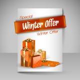 Calibre de conception de brochure de vecteur avec les cadeaux oranges de Noël Photo stock