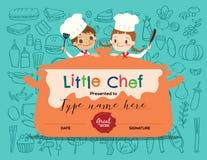 Calibre de conception de certificat de cours de cuisine d'enfants illustration de vecteur
